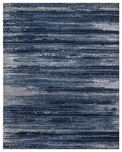 "Diagona Designs Contemporary Stripes Design Modern 8' X 10' Area Rug, 94"" W x 118"" L, Teal/Navy / Gray (JAS2046)"