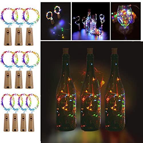 Starker Flaschen Lichterketten 12 Stück 20 LED Led Kork Weinflasche Kupferdraht Batteriestromversorgung Flaschenlichtfarbe Dekor Farbe Licht Kupfer Kunststoff DIY Weihnachten Hochzeit und Party