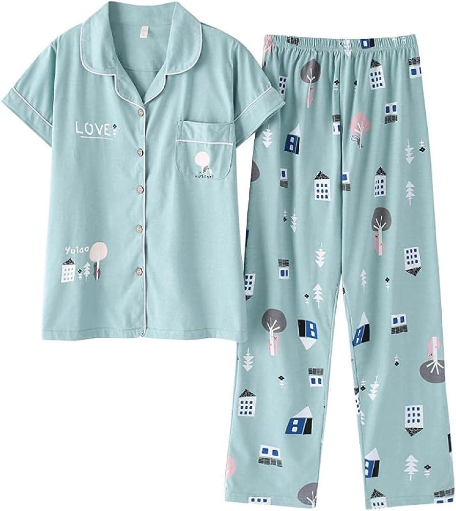 Women Direct sale of manufacturer Leisure Summer Short Sleeved Pyjamas Pant Pajamas Set Long Fixed price for sale