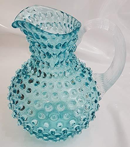 Oberstdorfer Glashütte Turquoise gekleurde vaas bloemenkrug glazen pot met noppen antieke stijl amfore mondgeblazen hoogte ca. 21 cm Ø 17 cm inhoud 2 liter