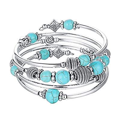 Pearl&Club Beaded Chakra Bangle Turquoise Bracelet - Fashion Jewelry Wrap Bracelet with Thick Silver Metal and Mala Beads, Birthday Gifts For Women (Turquoise)