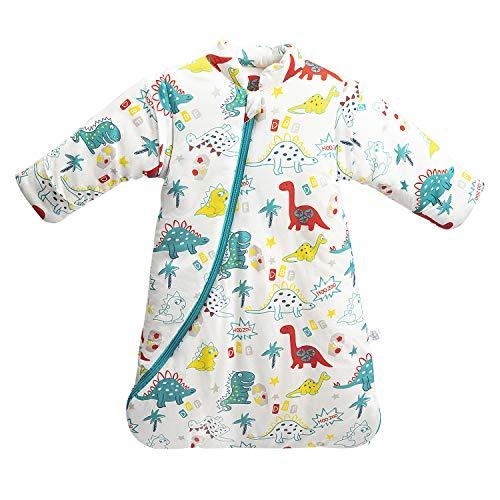 MIKAFEN Baby Winter schlafsack Kinder schlafsack 3.5 Tog Schlafsaecke aus Bio Baumwolle Verschiedene Groessen von Geburt bis 4 Jahre alt (M:Höhe 75cm-90cm/6-18Monate, green_dinosaur)