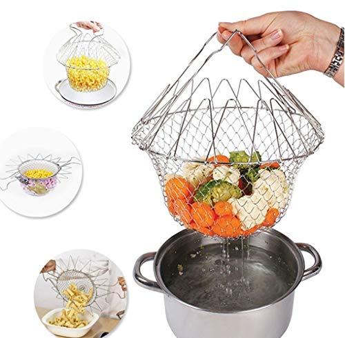 Faltbares Sieb, Lebensmittelkorb, Netz-Spülnetz, Fritteusenkorb, Edelstahl, Küchenwerkzeug