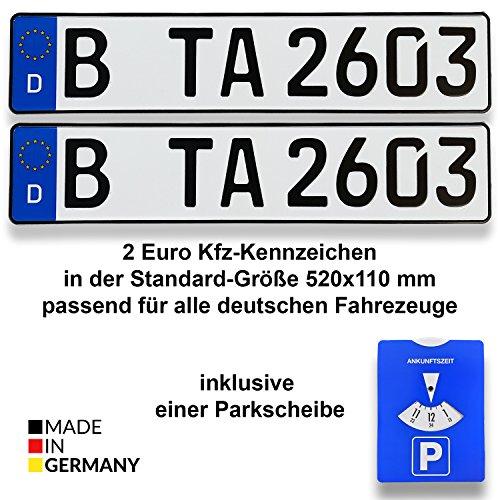TA TradeArea 2 DIN-zertifizierte Kfz-Kennzeichen in der Standard-Größe 520x110 mm inklusive Parkscheibe passend für alle Deutschen Fahrzeuge