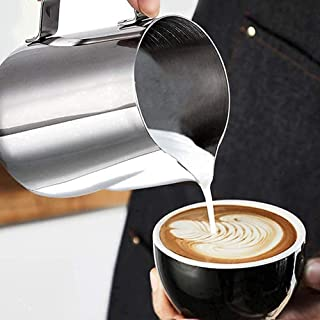 DRRB Coffee Milk Frother Cup Stainless Steel Milk Frothing Pitcher - Milk Pitcher Espresso Cappuccino Latte Art Milk Jug S...
