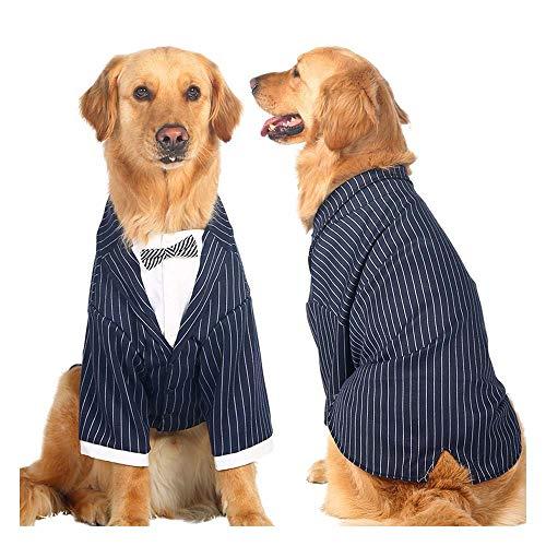ZWW Huisdier Kleding, Hond Kleding Pak Gestreept Donkerblauw Geschikt voor Middelgrote en Grote Honden