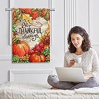 Bandiera del giardino di benvenuto(28x40inch)Decorazione per esterni da giardino verticale bifacciale,sii grato sempre autunno raccolto autunnale #5