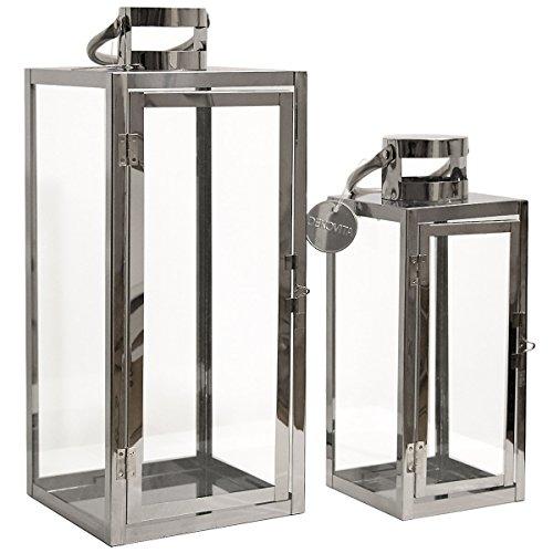 Dekovita Gartenlaterne 2er-Set: 30cm/49cm Edelstahl-Laternen mit rundem Henkel Windlicht hitzebeständiges Temperglas