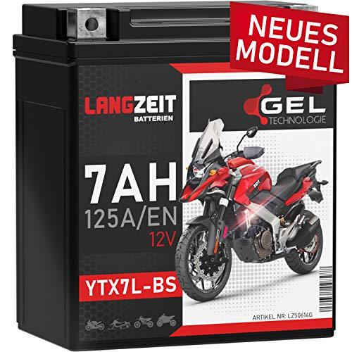 LANGZEIT YTX7L-BS GEL Motorradbatterie 12V 7Ah 125A/EN GEL Batterie 12V Roller Batterie doppelte Lebensdauer entspricht 50614 CTX7L-BS vorgeladen auslaufsicher wartungsfrei ersetzt 6Ah