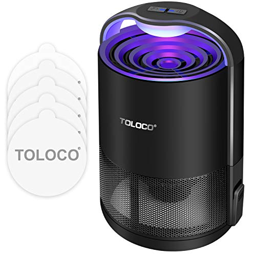TOLOCO Mosquito Traps for Gnats, Small Moths, Mosquito Trapper Indoor - UV Light, Fans, Sticky Glue Boards, Non-Toxic, Odorless, Child Safe, No Zapper Insect Trap (Zap T360 Pro, Black)
