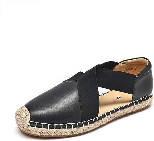 Sandales Chaussures Plates en Cuir été Les Les dames Wild Décontracté Noir