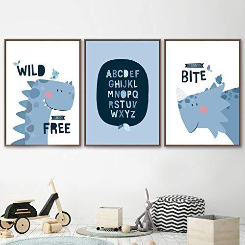 KWzEQ Dinosaurier Kindergarten Wandkunst Nordische Leinwand Malerei Poster und Drucke Baby Kinderzimmer Dekoration-Rahmenlose Malerei80x105cmx3
