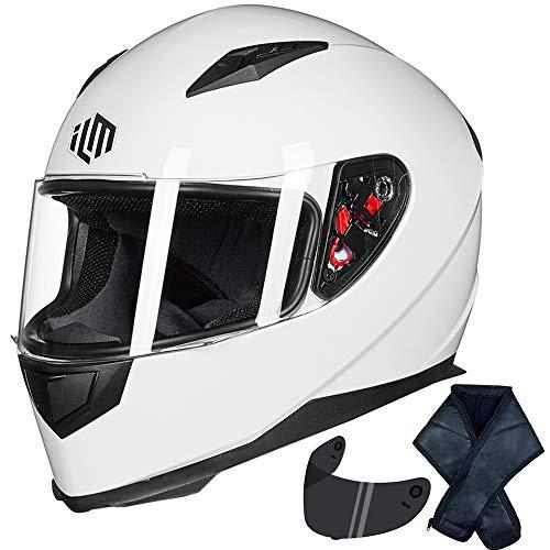 ILM Full Face Motorcycle Street Bike Helmet with Removable Winter Neck Scarf + 2 Visors DOT (M,...