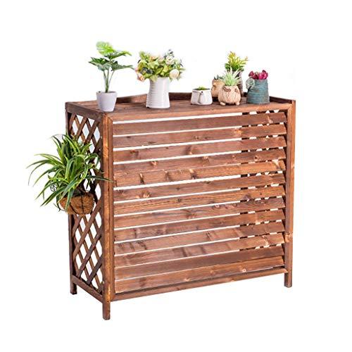 Griglia Condizionatore d'aria in legno Coperchio esterno con feritoie, supporto per fiori in legno carbonizzato Aria condizionata Rack Louver Design Coperchio del condizionatore d'aria in legno mass