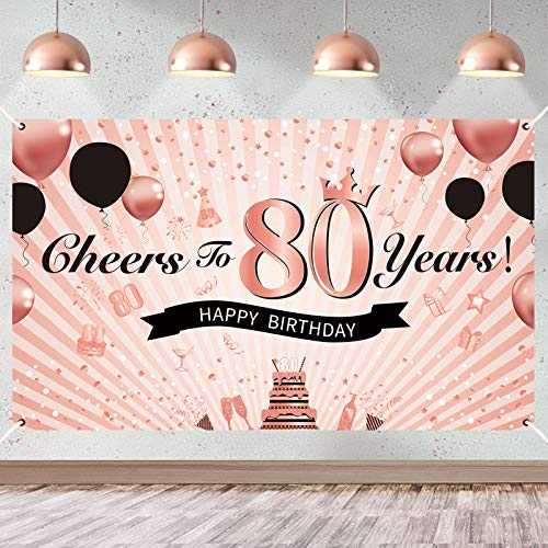Rose Gold Cheers to 80 Years Banner