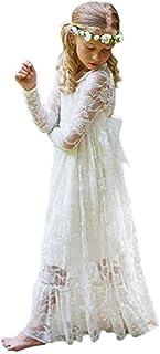 9183e00eac462d XEJ Mädchen Prinzessin Kleid Spitzen Blumenmädchen Kleid Festkleid Lange  Ärmel
