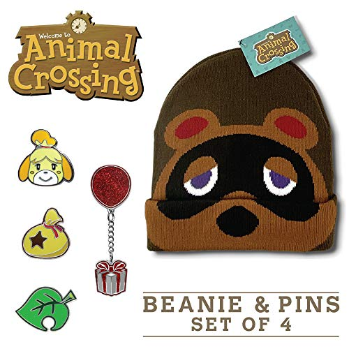 Controller Gear Animal Crossing Merch Gamer Gift Tom Nook Beanie + Pin Bundle [2 Pack]- Authentic &...