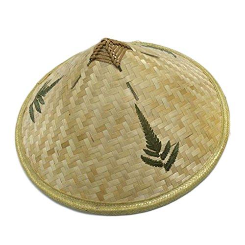 Vin beauty BigFamily Bambus Rattan Hüte für täglich Retro Handarbeit Weave Strohhut Regenschutzkappe Tanzrequisiten Angeln Sonnenschirm Fischerhut