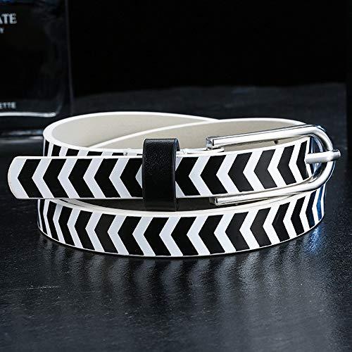 Yiph-Belt Gürtel Freizeit Damengürtel Schwarzweiß Herrengürtel Joker Slim Waistband (Farbe : Weiß)