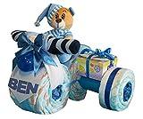 Tarta Pañales Pañales Moto con sidecar plegable azul Talla:Gr.3