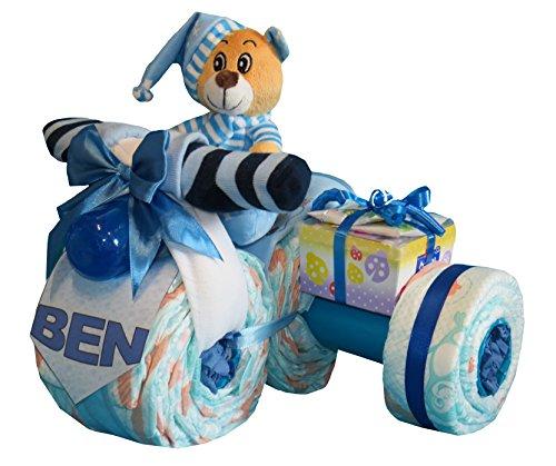 Tarta Pañales Pañales Moto con sidecar plegable azul Talla