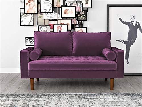 Best Container Furniture Direct S5458 Mid Century Modern Velvet Upholstered Tufted Living Room Loveseat,