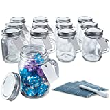 Otis Classic Glass Mason Jars - Mini Mason Jar Glasses with Lids & Handles for Holiday Crafts, Favors & Home Decor, 3.4 Ounce Pack of 12 Mini Mason Jars with 18 Chalkboard Stickers, 20 Labels & Pen