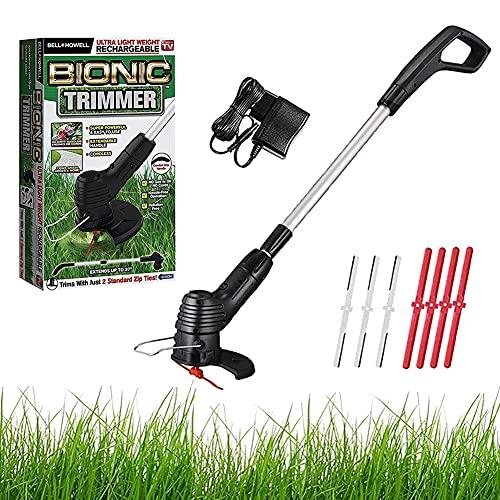 Cordless Grass Trimmer Handheld Lawn Mower Garden Weeder Machine Easy Grass Cut Electric Strimmer (18000rpm, 1H Fast Charge, 25cm Cutting Width, 3 x Metal Blades, 4 x Plastic Blades)