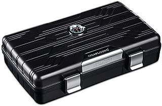 LIFANGAU Cigar HumidorsPortable Waterproof HumidorsCigar Cut SetsCigar CasesSilver/Black, Ideal Smokers (Color : Black)
