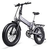KELKART Bicicleta de Montaña Eléctrica 500W 20 Pulgadas Bicicleta Eléctrica Plegable con Neumático Grueso con Asiento Trasero Batería de Iones de Litio Extraíble de 48V 12.8AH