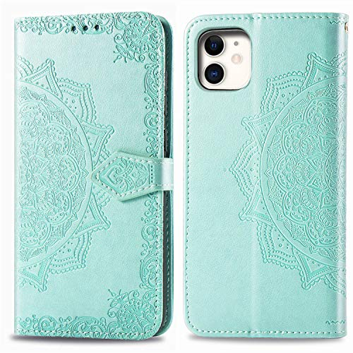 Compatible con iPhone 12 Mini, iPhone 12 Mini, funda de piel con tarjetero, funda plegable, mandala con cierre magnético, protección (iPhone 12 Mini, verde)
