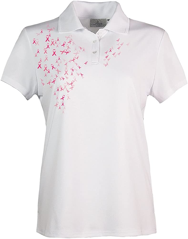 Akwa Made in USA Women's Breast Cancer Awareness Pink Ribbon Polo with Moisture Wicking Polyester
