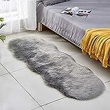 Lurowo - Tappeto in finta pelliccia, morbido e morbido, con fondo antiscivolo, lavabile, per divano, camera da letto, sedia, 60 x 180 cm, colore: Grigio