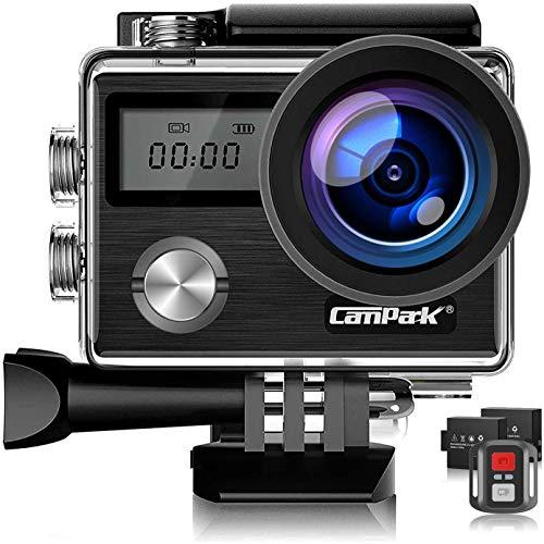 Campark X20 Cámara Deportiva 4k Ultra HD 20MP Pantalla Táctil EIS Anti-Vibración Control Remoto WiFi Camara Acuatica de 40M con 2 Baterías con Kit de Accesorios Azul