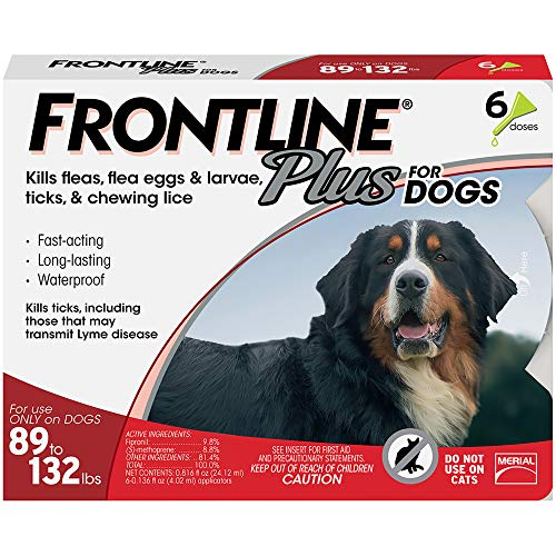 Price comparison product image FRONTLINE Plus Flea and Tick Treatment for Dogs (Extra Large Dog,  89-132 Pounds,  6 Doses)
