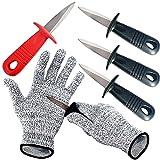 BXIO - Coltello da ostrica con guanti resistenti al taglio, strumento per apribottiglie, 4...
