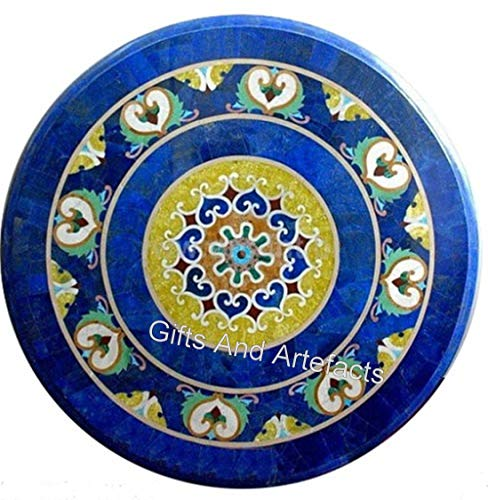 Mesa de sofá de mármol azul con mesa de café de arte de marquetería de Indian Handicrafts de 30 pulgadas
