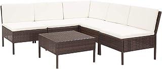 vidaXL Set Muebles de Jardín 6 Piezas y Cojines Patio Terraza Conjunto Casa Exterior Comedor Aire Libre Mesa Silla Asientos Ratán Sintético Marrón