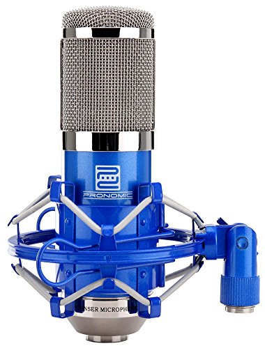 Pronomic CM-100B Studio grootmembraanmicrofoon XLR-condensatormicrofoon (met microfoonspin, etui, windbescherming, reduceerdraad) blauw
