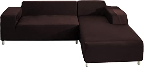 WOMACO L Shape Sofa Covers Sectional Sofa Cover 2 pcs Stretch Sofa Slipcovers for L-Shape..