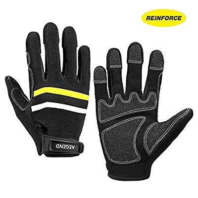 Aegend Reinforce Nylon Double-Stitches Work Gloves, Safety Utility Gloves Mechanics Gloves for Heavy Duty, Excellent Grip, Frictional Protection for Daily Work Operator, Carrier, Gardening, XXL