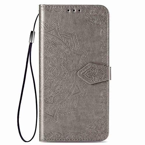 GOGME Hülle für Samsung Galaxy A32 5G (Not for 4G Edition), Mandala Geprägtem PU Leder Magnetische Filp Handyhülle mit Kartensteckplätzen/Standfunktion, [Anti-Rutsch Abriebfest] Schutzhülle. Grau