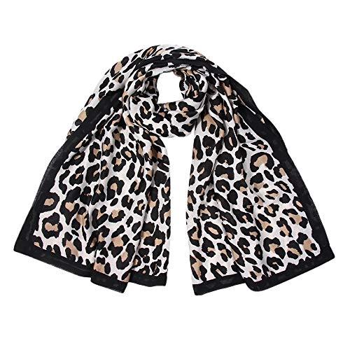 Amphia - Frauen-Leopard-Druck-Schal-Wrap-Schal-Stirnband-weicher Schal-Langer Schal,Leopardenmuster-Elementschal für Damen(Black)