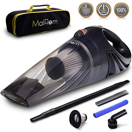Car Vacuum Cleaner - Car Vacuum High Suction Power 4.3 KPa Handheld Portable Auto Detailer Wet Dry - Pet Hair - Upholstery - Power Cord 16.7 ft (5m) - Incl.Extra Filter and Replaceable Fuse