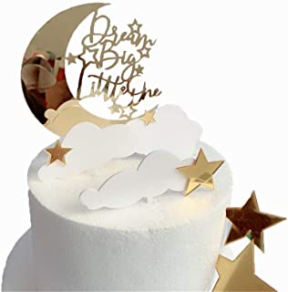 DeMissir Curved Moon Dream Big Little One Happy Birthday Cake Toppers for children ,Golden Stars And White Clouds Acrylic Golden Birthday Cupcake Topper,Cake Decorations Set,Pack of 6.