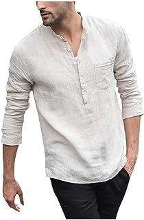 HX fashion Camisa De Hombre Lino Algodón Y En Estilo Chino Tamaños Cómodos Con Manga Larga Y Medio Cárdigan Con Cuello En V