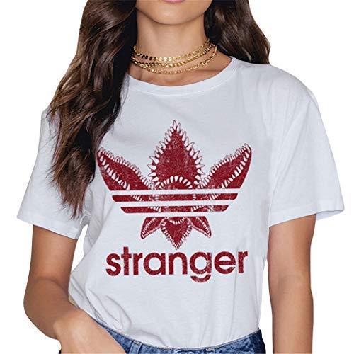 Stranger Things T Shirt Fille, T-Shirt Manche Courte Femme Été Shirt Stranger Things Impression Lettres Tee Shirt Sport Baseball Hauts Tops Chemise Fan de Film
