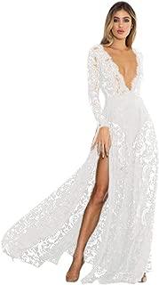 Womens High Split Long Maxi Dress Deep V Neck Evening Dress Floral Print Mesh See Through Formal Gown