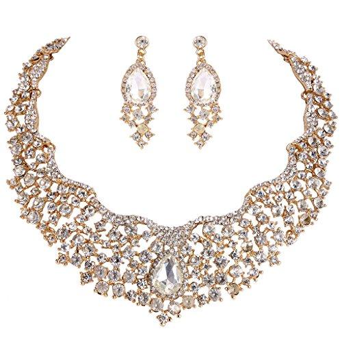 EVER FAITH Women's Austrian Crystal Flower Cluster Teardrop Necklace Earrings Set Clear Gold-Tone