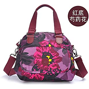 Zazero 2018 new European and American fashion Satchel Bag nylon printed single shoulder handbag,Paeonia lactiflora